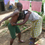 man beating wife